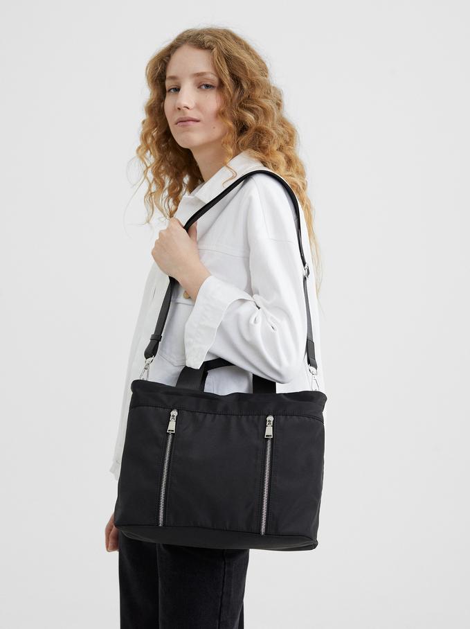 Nylon Tote Bag With Zip Detail, Black, hi-res