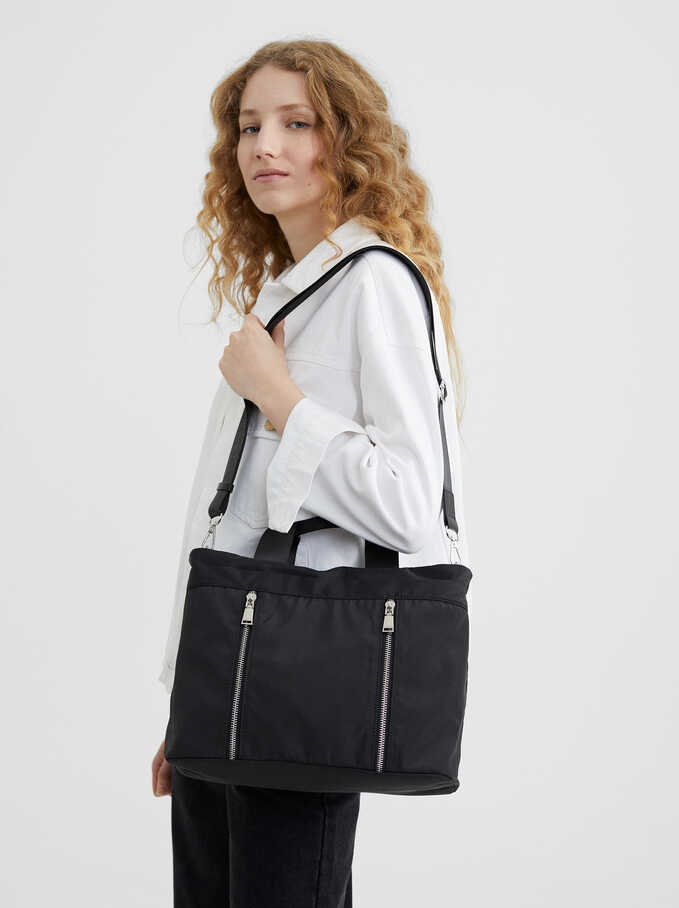 Nylon Shopper Bag With Zip Detail, Black, hi-res