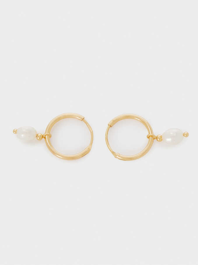 925 Sterling Silver Small Hoop Earrings With Pearl, Beige, hi-res