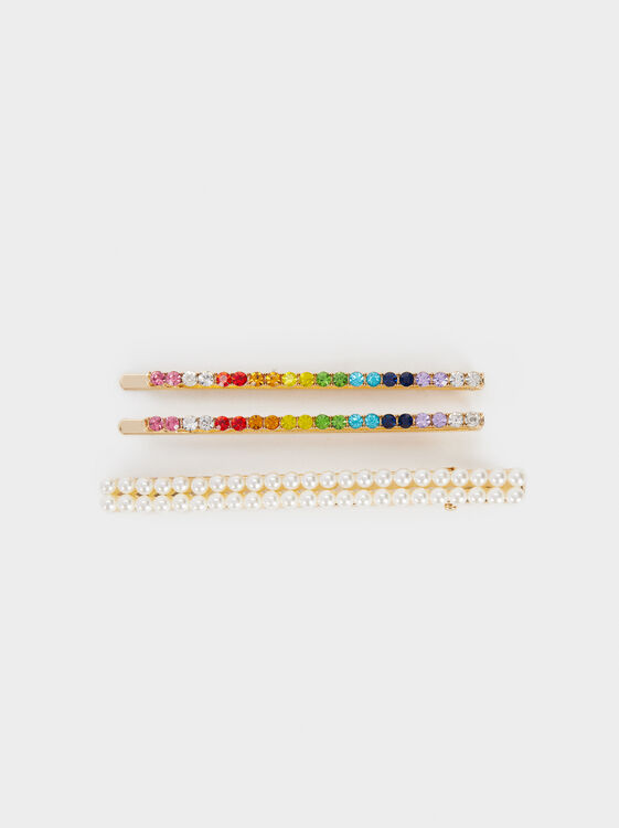 Rhinestone Hairclip Set, Multicolor, hi-res