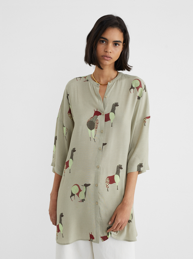 Shirt Dress With Llama Print, Ecru, hi-res