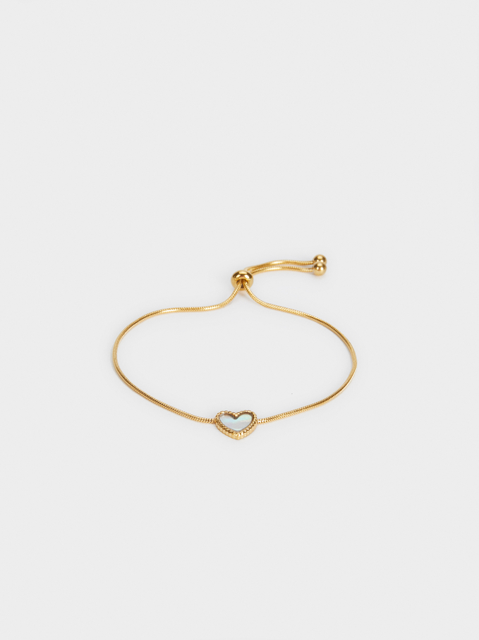 Adjustable Steel Bracelet With Heart, Golden, hi-res