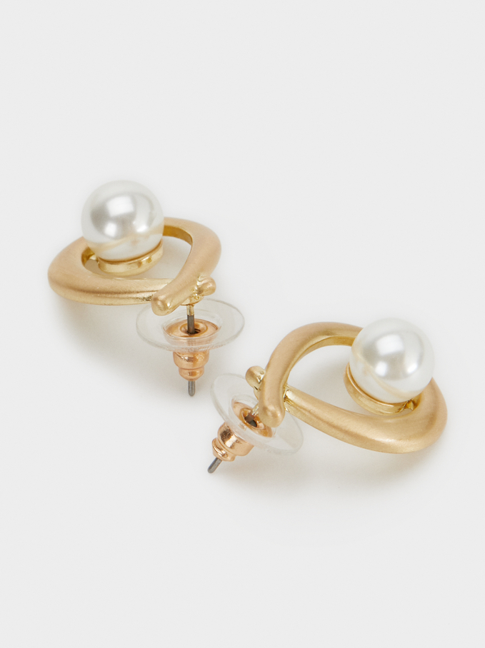 Earrings With Faux Pearls, Golden, hi-res