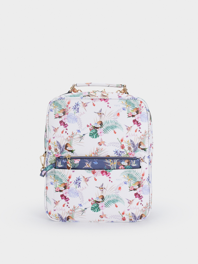 Floral Print Backpack, Navy, hi-res