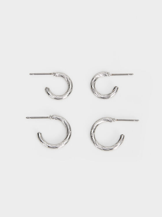 Hoop Fever Set Of Small Hoop Earrings, Silver, hi-res