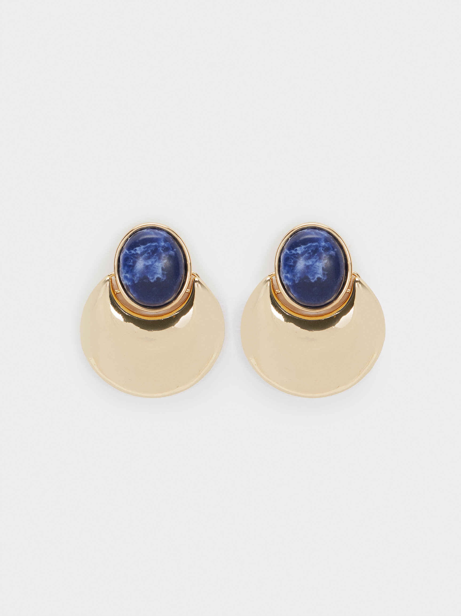 Medium Gold Earrings With Gems, Green, hi-res