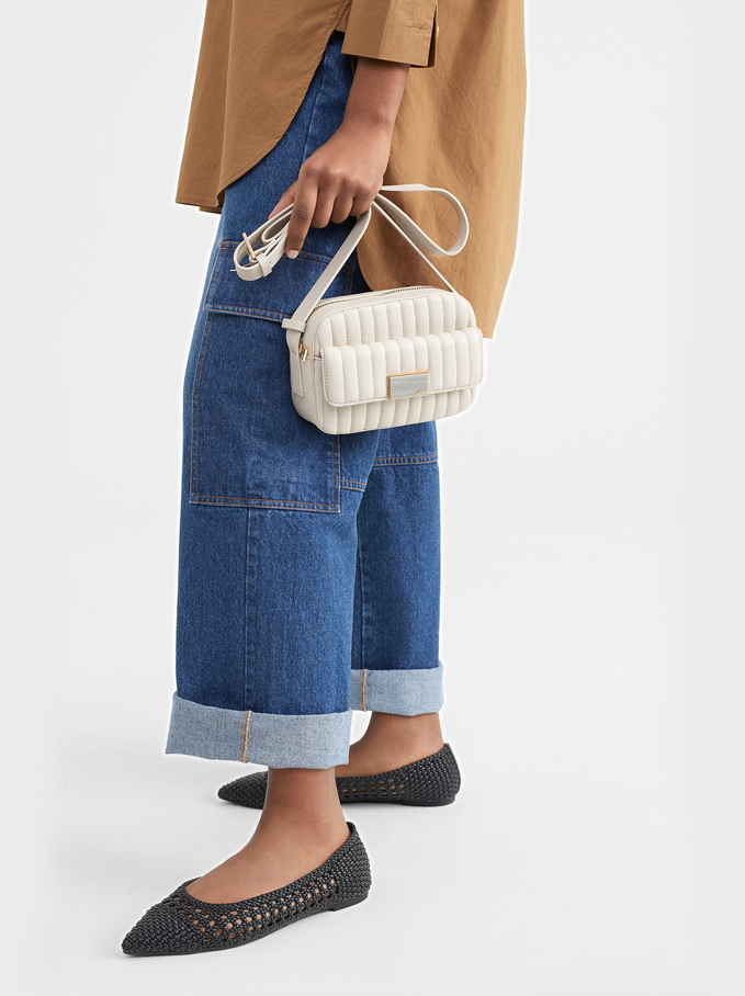 Shoulder Bag With Outer Pocket, Ecru, hi-res