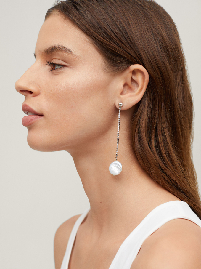 Extra Long Earrings With Pearl And Crystals, Silver, hi-res