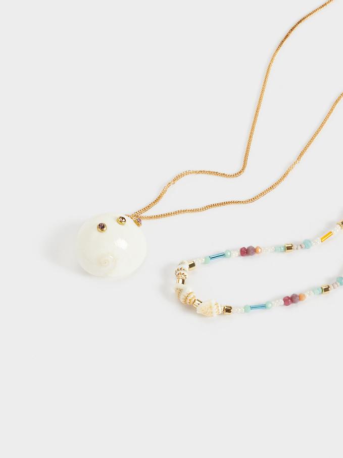 Conjunto De Collares Combinados Con Concha Y Abalorios, Multicor, hi-res
