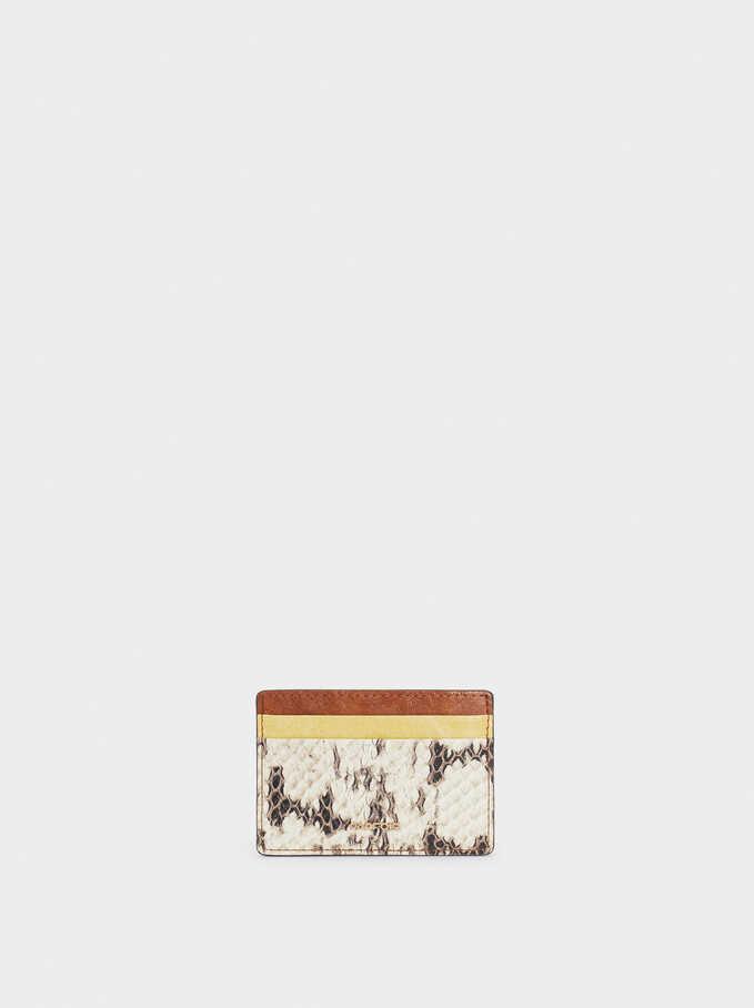 Embossed Animal Print Card Holder, Ecru, hi-res
