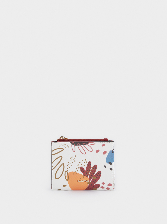 Compact Multicoloured Print Wallet, Ecru, hi-res