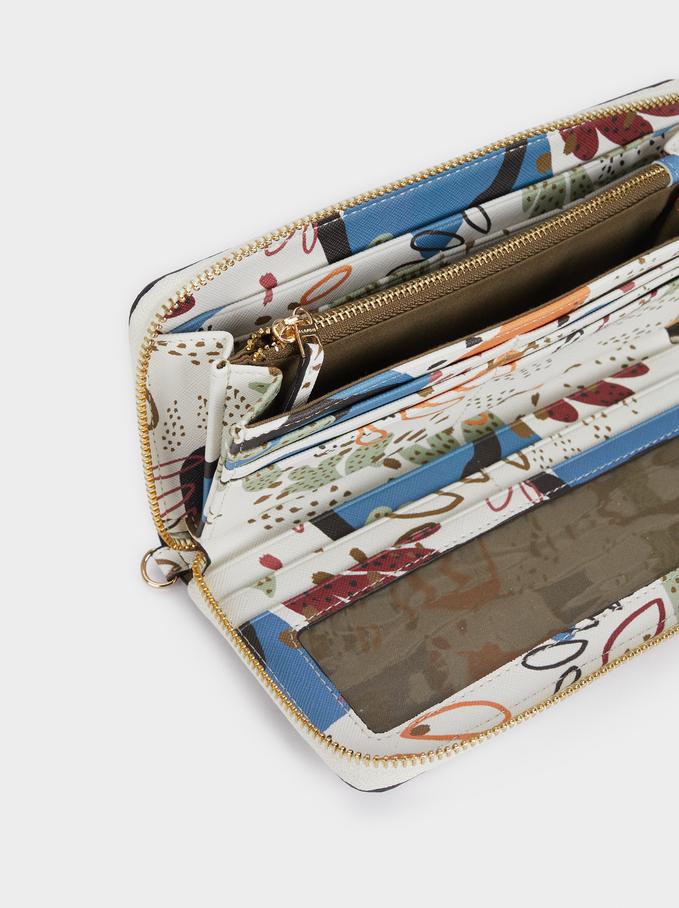 Portefeuille Compact Imprimé Multicolore, Écru, hi-res
