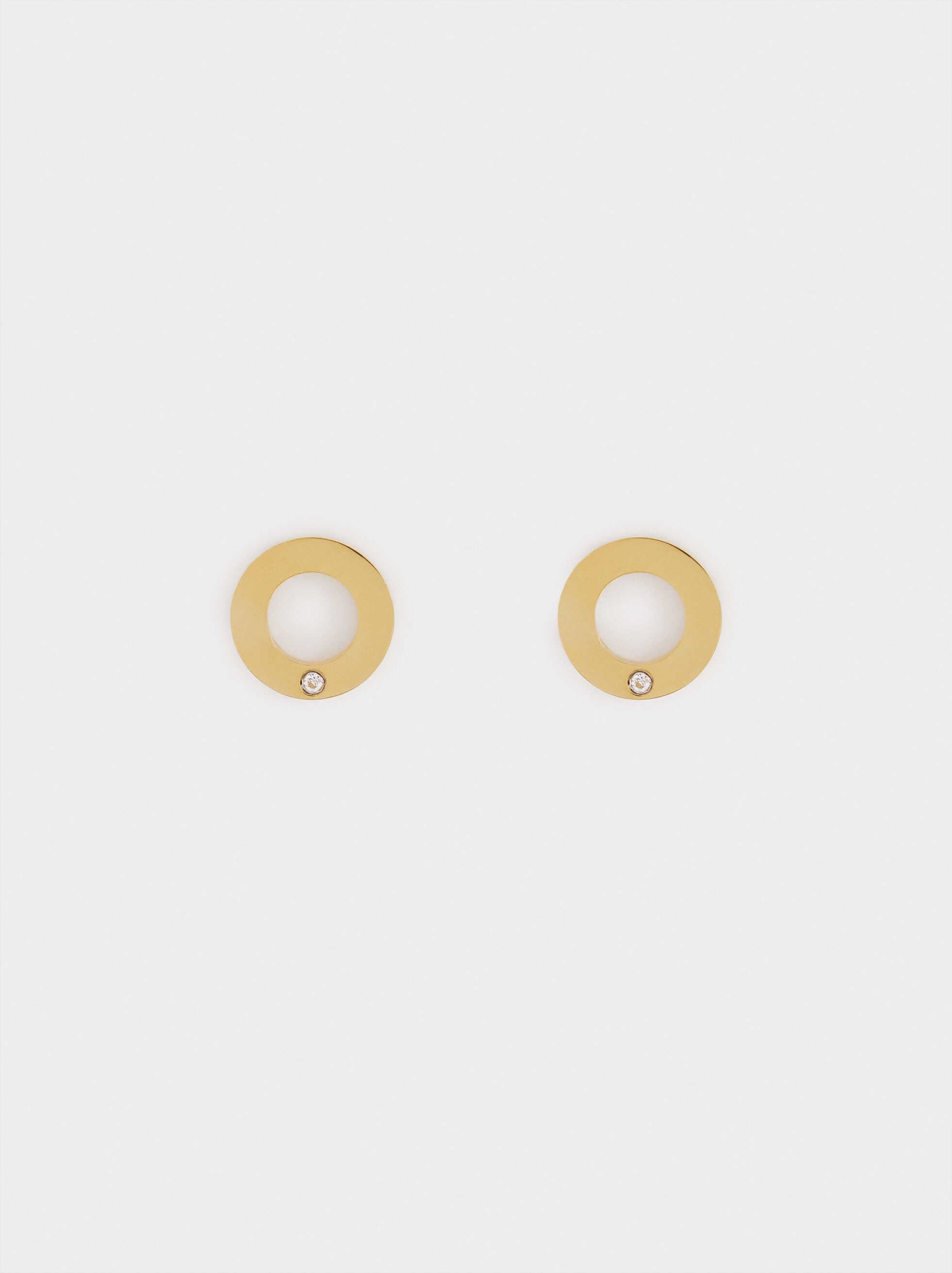 Small Silver-Plated Stainless Steel Circular Earrings, , hi-res