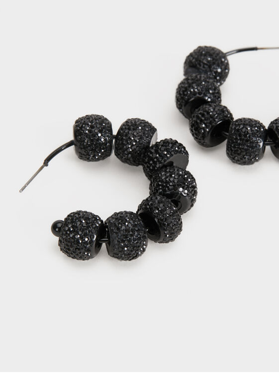 Star Dust Medium Rhinestone Hoop Earrings, Black, hi-res
