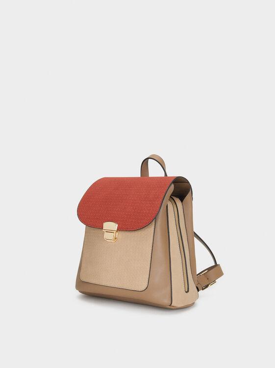 Embossed Backpack, Brick Red, hi-res