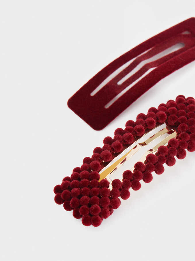 Set Of Velvet Hair Clips, Bordeaux, hi-res