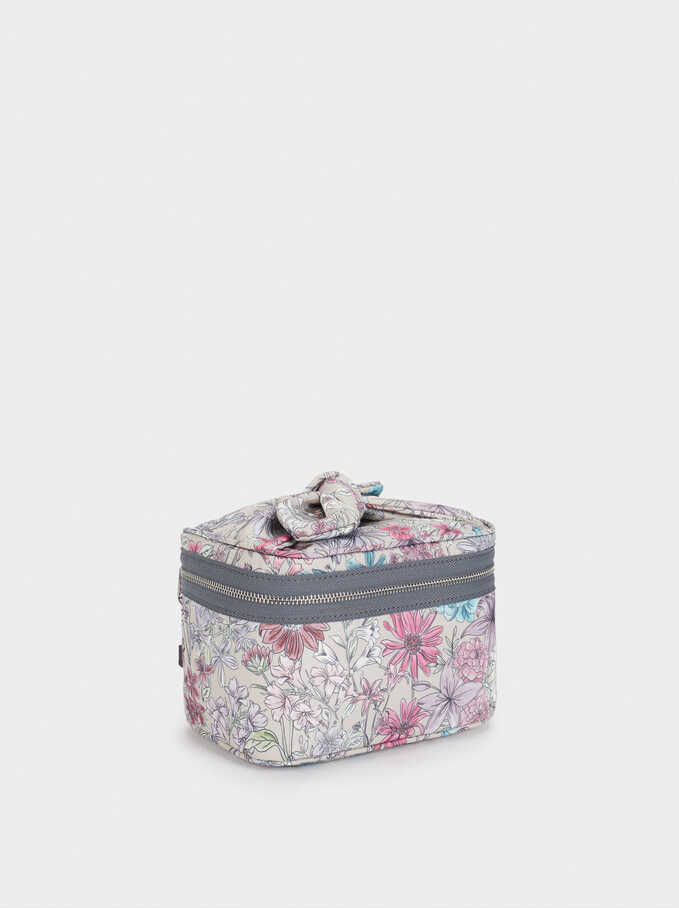 Floral Print Nylon Toiletry Bag, Brown, hi-res