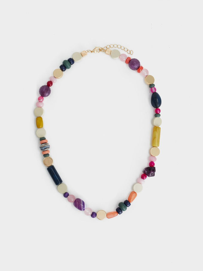 Wild Color Beaded Short Necklace, Multicolor, hi-res