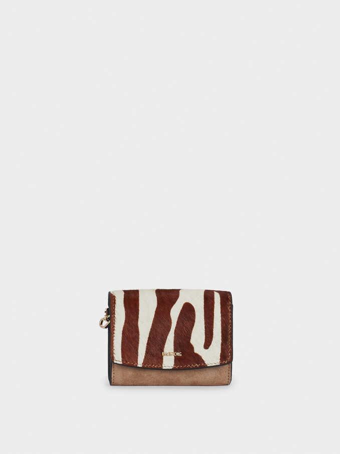 Leather Embossed Animal Print Purse, Ecru, hi-res