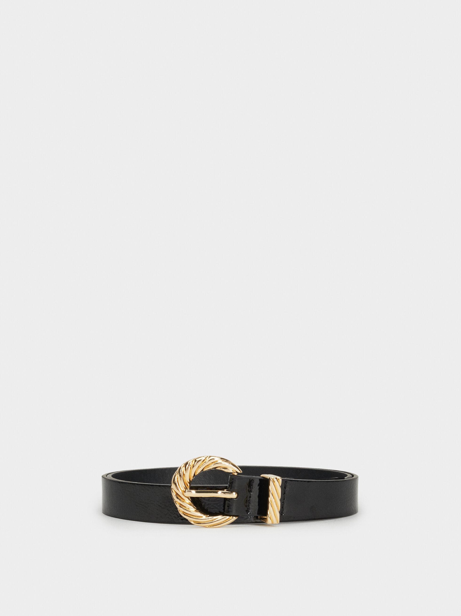 Cintura Con Fibbia Dorata, Nero, hi-res