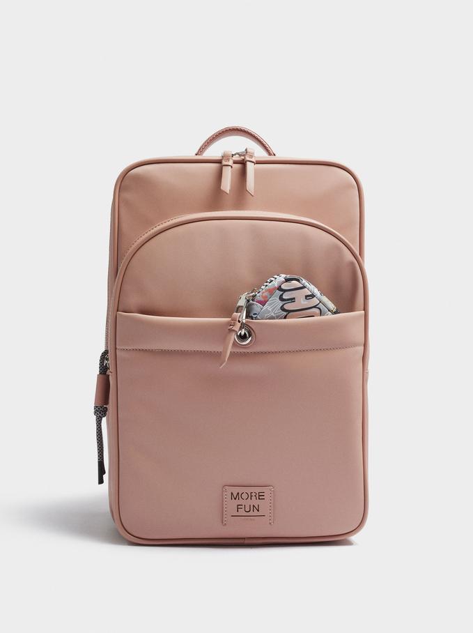 Rucksack Aus Nylon Für Ein 15-Zoll-Laptop, Rosa, hi-res