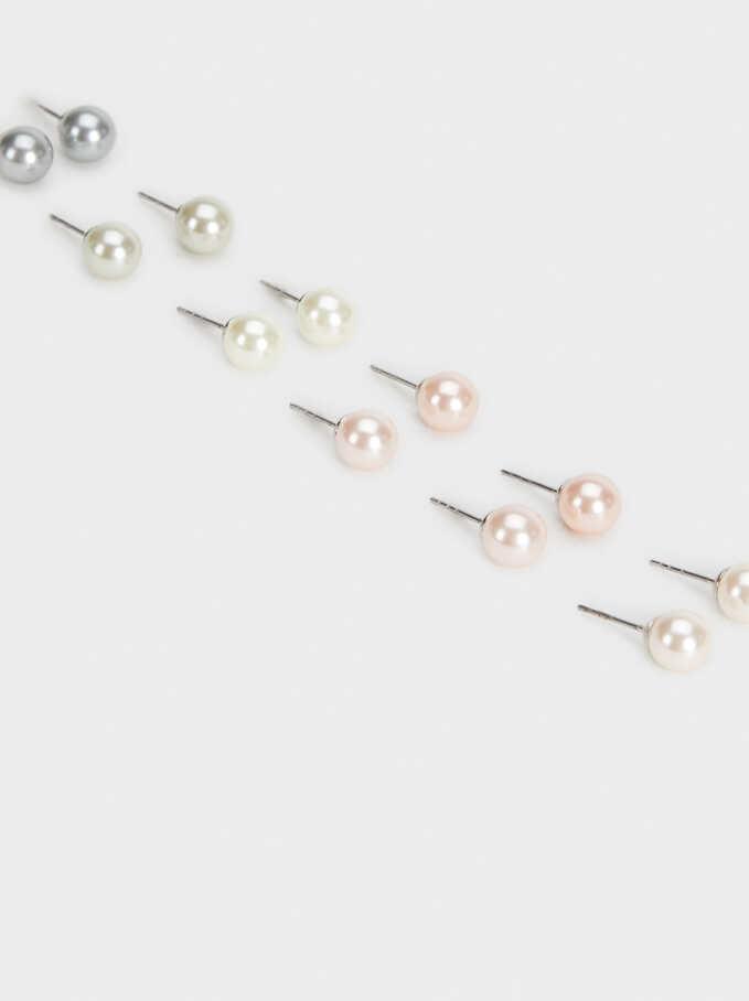 Set De Pendientes Cortos Perlas, Multicor, hi-res
