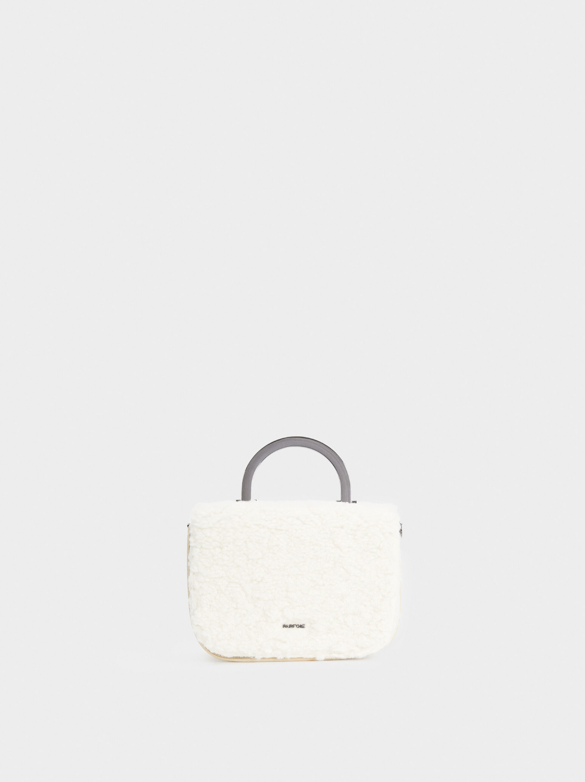 Crossbody Bag With Metallic Handle, White, hi-res