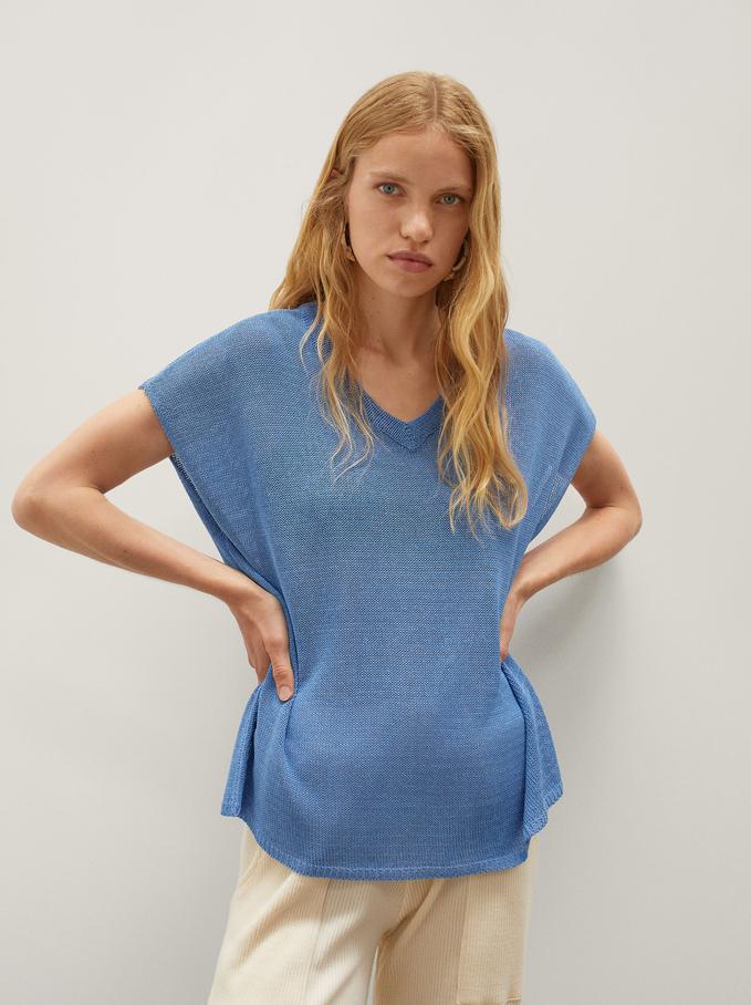 Camisola De Malha Com Decote Em Bico, Azul, hi-res