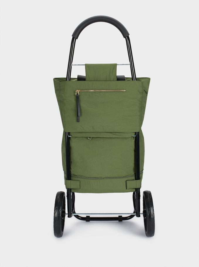 Chariot De Courses Pliable Multifonction, Kaki, hi-res