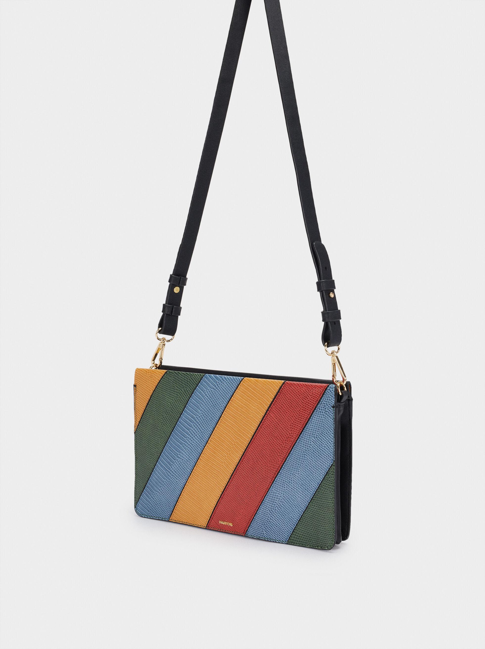 Patchwork Design Handbag, Black, hi-res