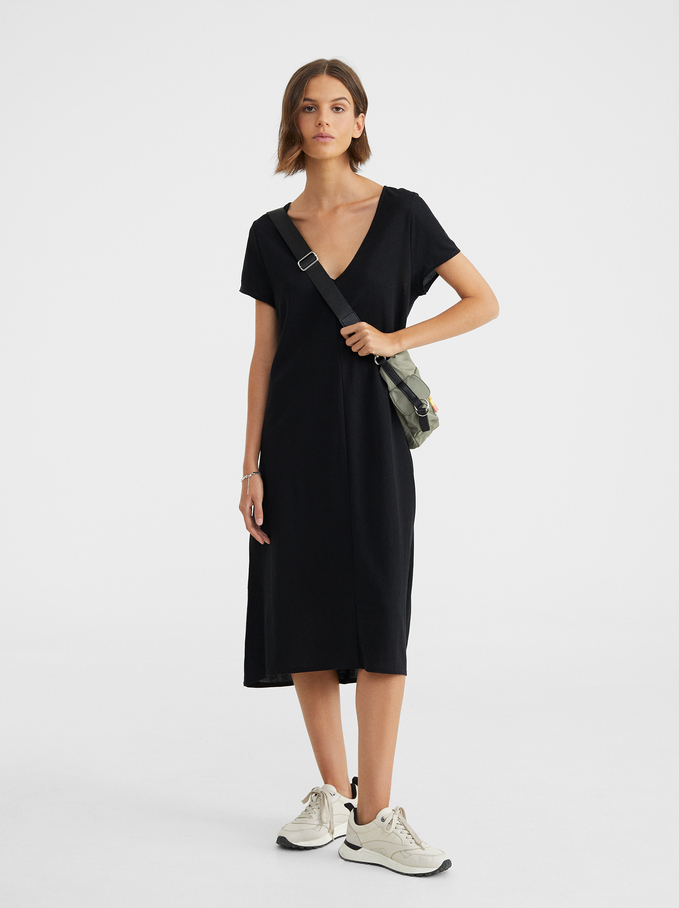Basic V-Neck Dress, Black, hi-res