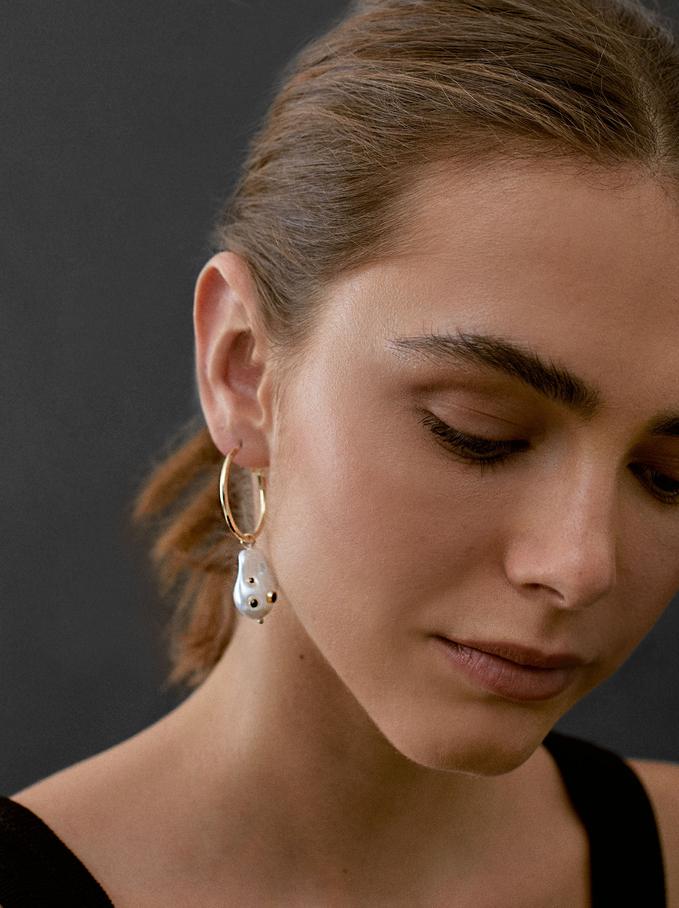Large Charm Hoop Earrings, Golden, hi-res