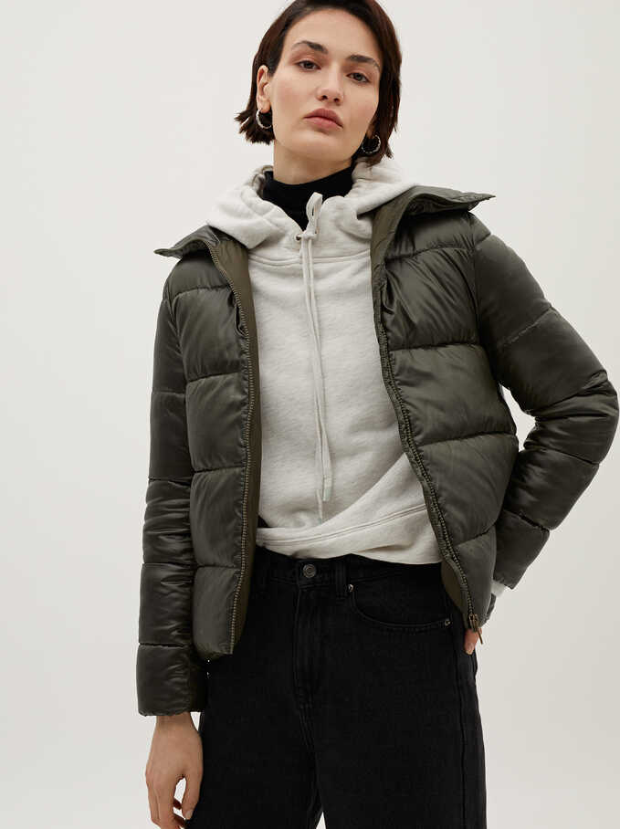 High Neck Puffer Coat , Green, hi-res