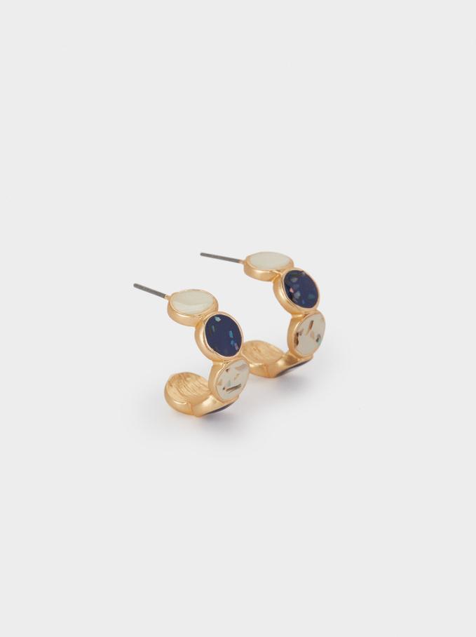 Small Enamel Hoop Earrings, Multicolor, hi-res
