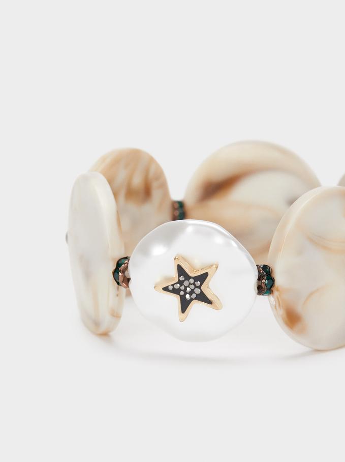 Elasticated Bracelet With Multicoloured Star, Beige, hi-res