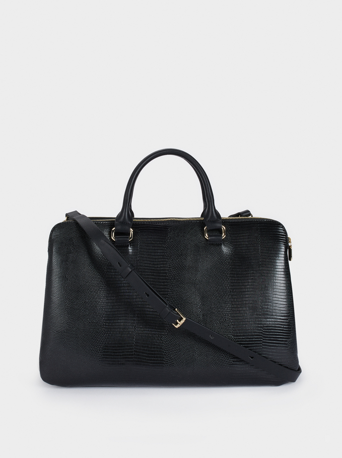 Briefcase With Embossed Animal Print, Black, hi-res