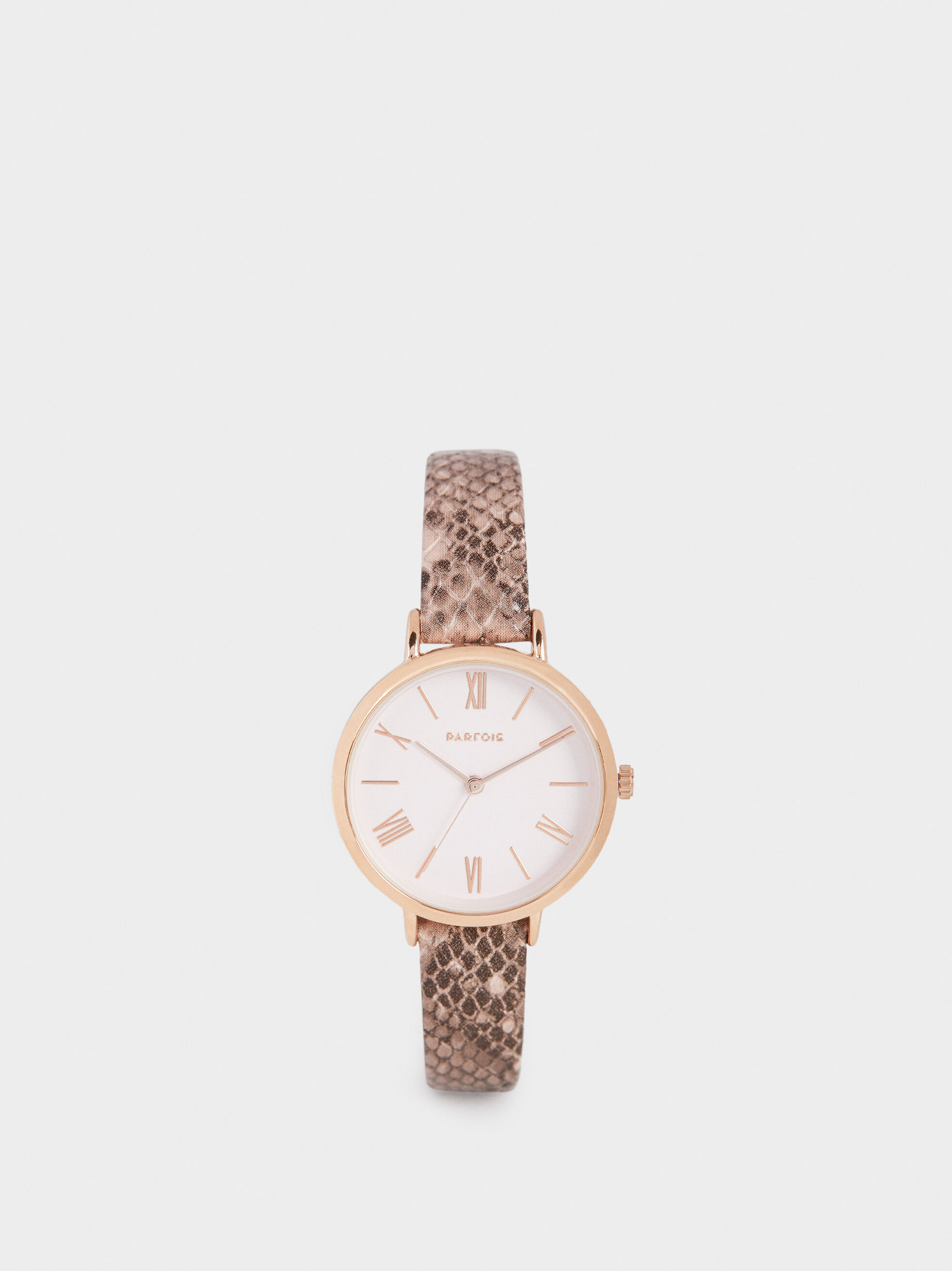 Watch With Snakeskin Embossed Wristband, Brown, hi-res