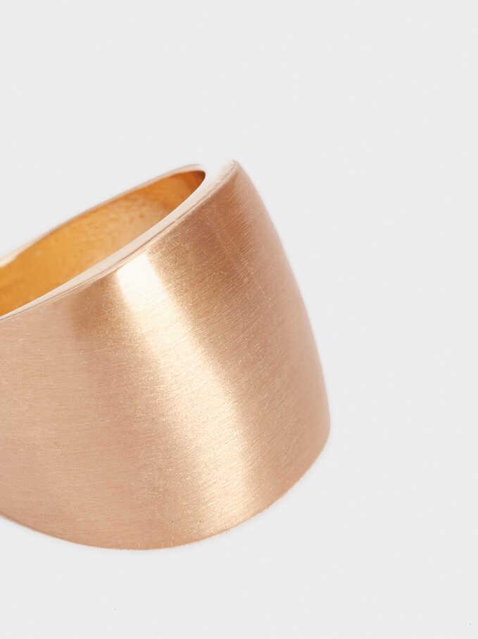 Gold-Toned Brushed Ring, Golden, hi-res