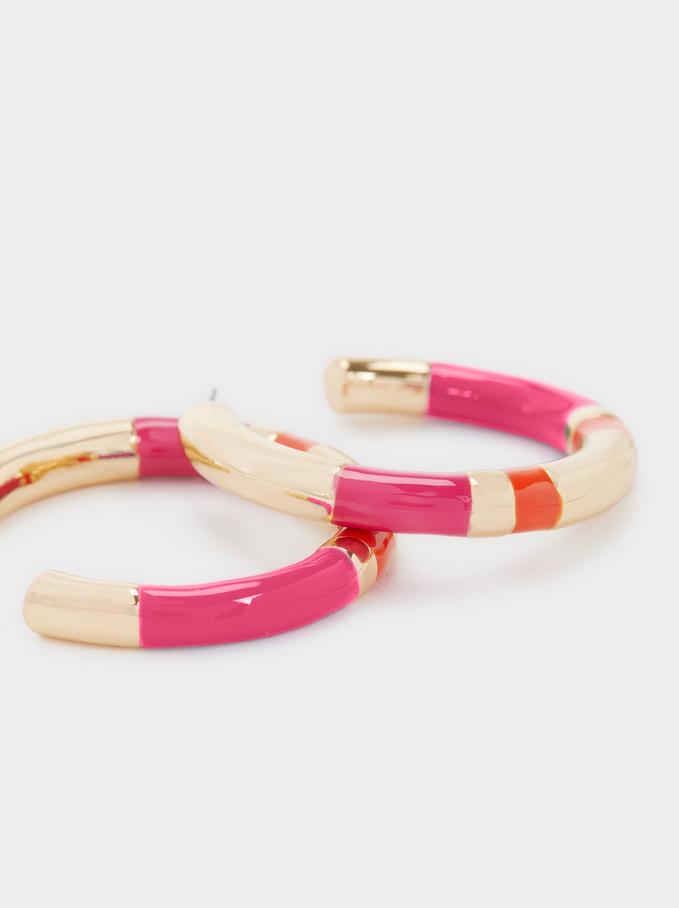 Enamel Hoop Earrings, Multicolor, hi-res