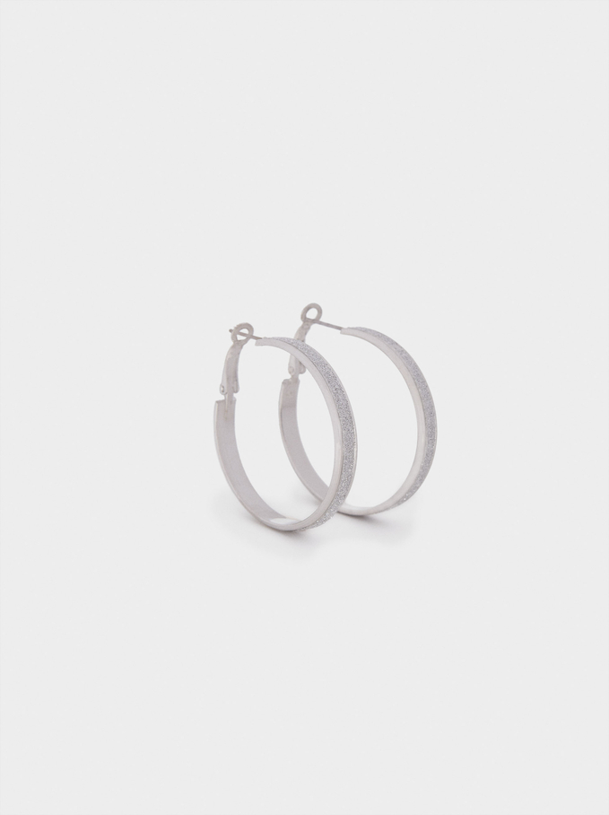 Hoop Earrings With Rhinestones, Silver, hi-res