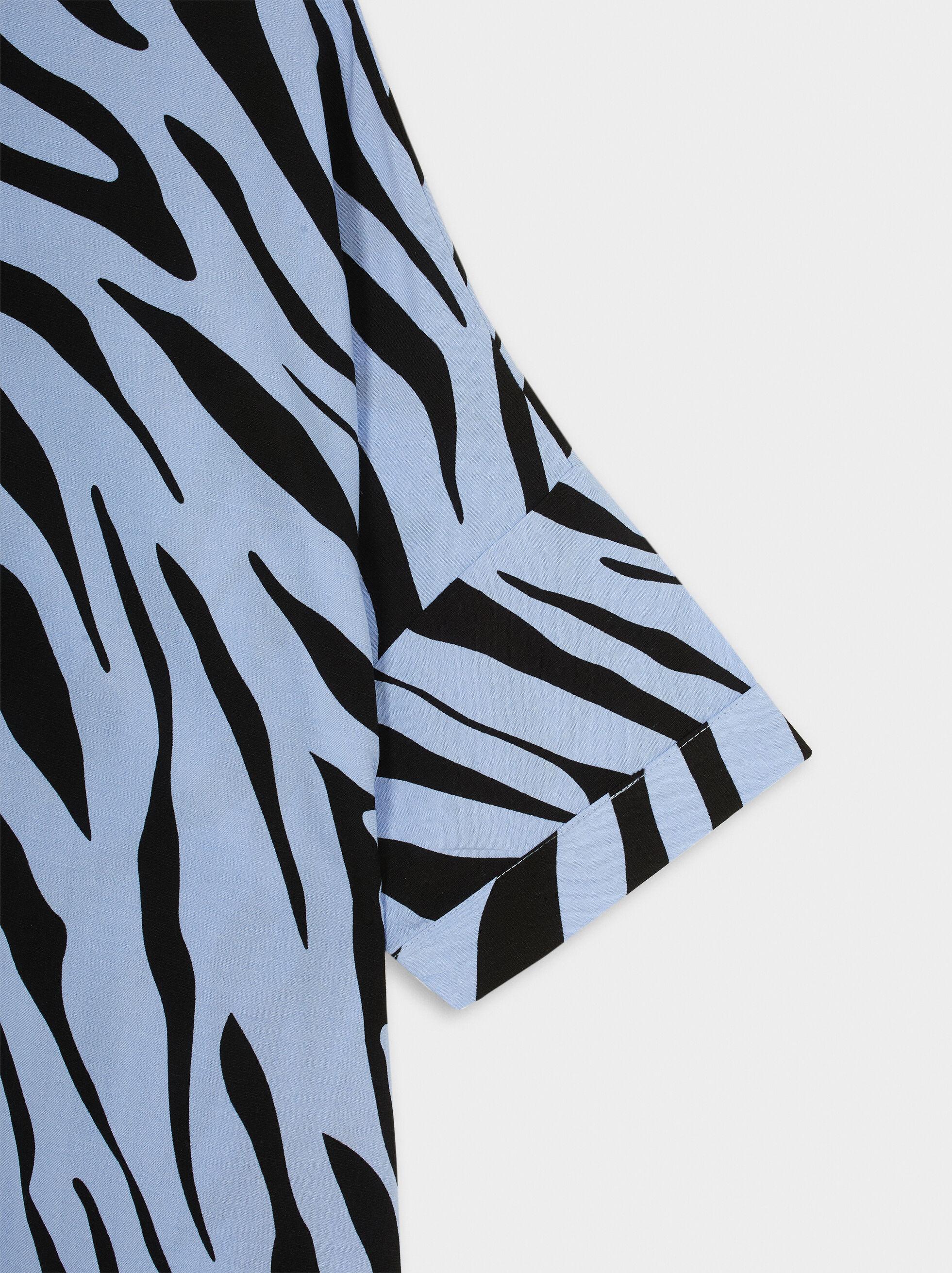 Animal Print Shirt Dress, Blue, hi-res