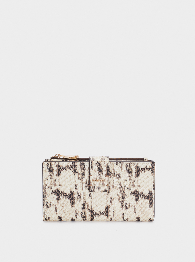 Embossed Animal Print Wallet, Ecru, hi-res