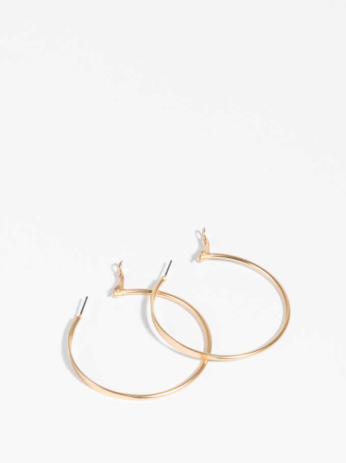 Golden Basics Large Hoop-Earrings, Golden, hi-res