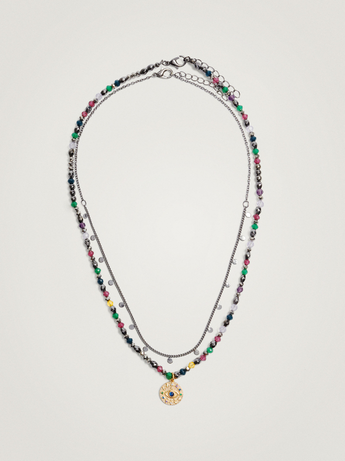 Set Of Contrasting Necklaces With Beads And Medallion, Multicolor, hi-res