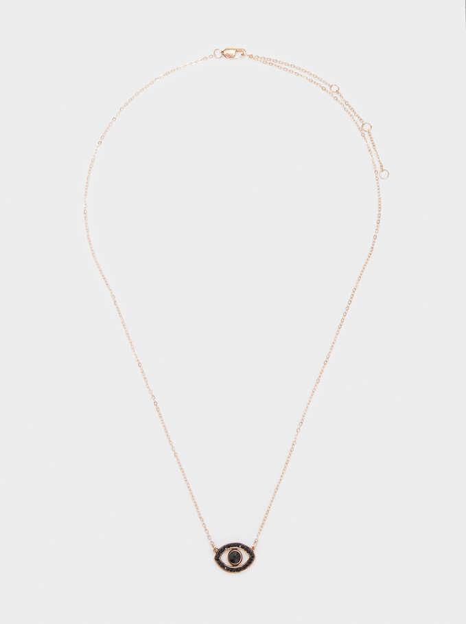 Collar Corto De Acero Ojo Y Cristales, Naranja, hi-res