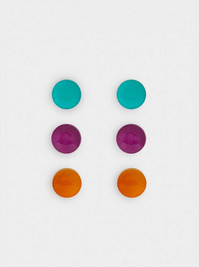 Ensemble De Boucles D'Oreilles Multicolores, Multicolore, hi-res