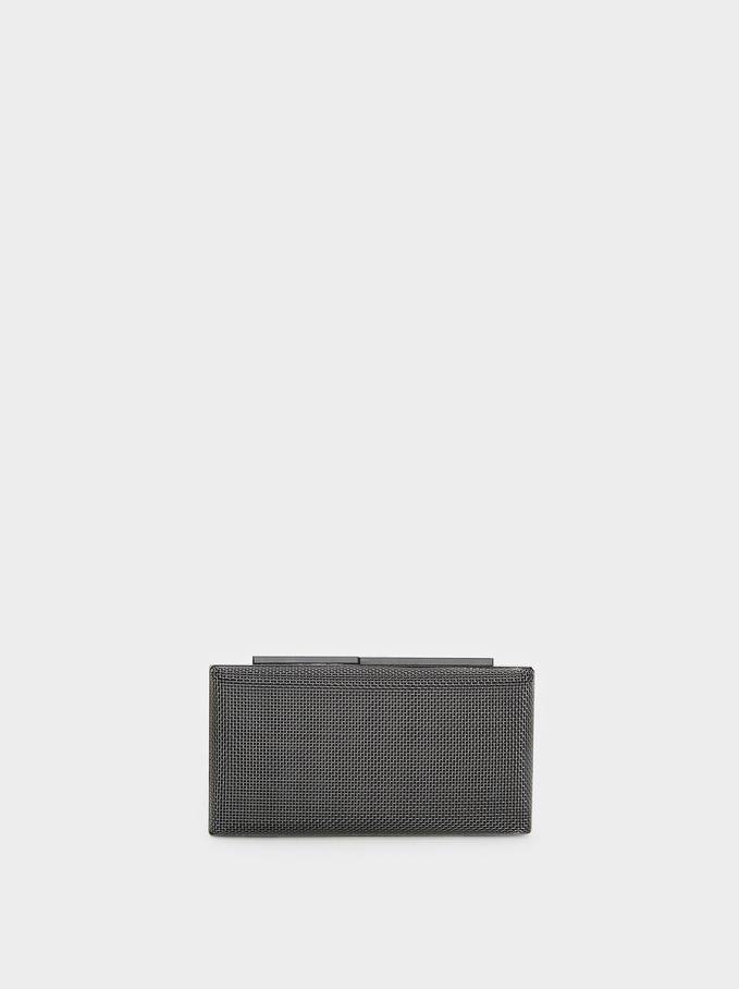 Metal Mesh Party Clutch, Black, hi-res