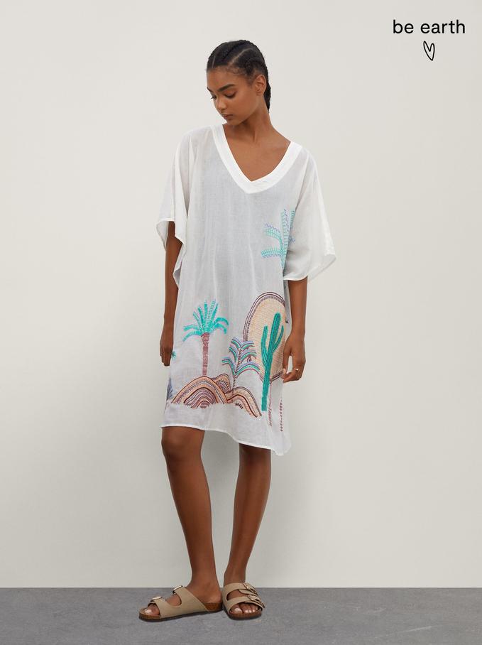 100% Cotton Kimono With Embroidery, Ecru, hi-res