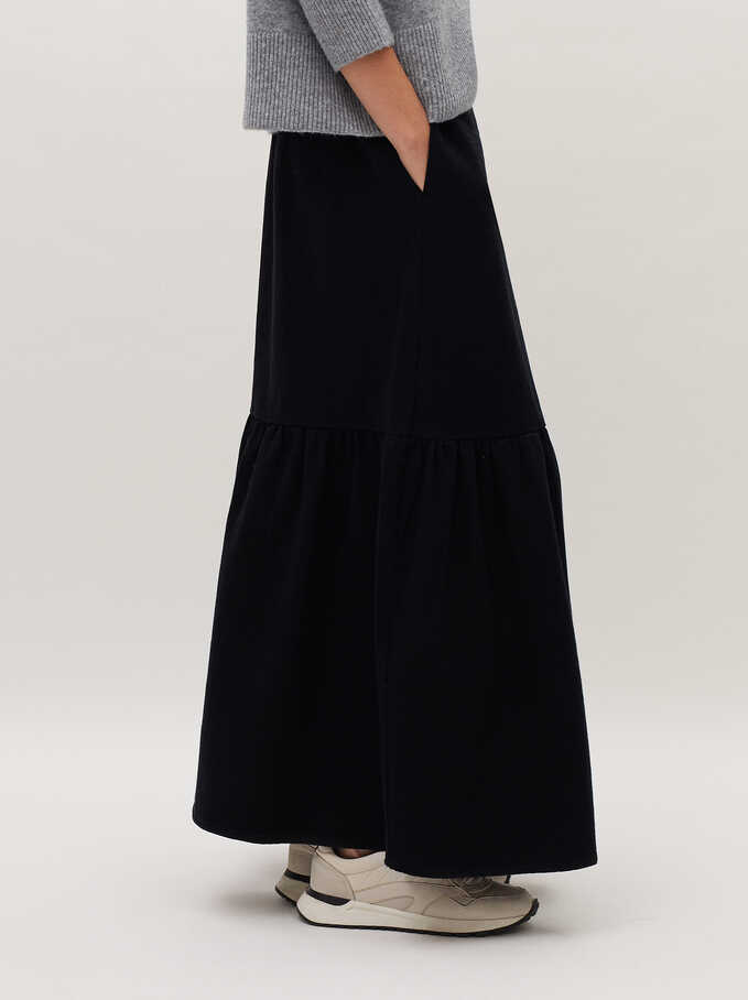 Long Tiered Skirt, Black, hi-res