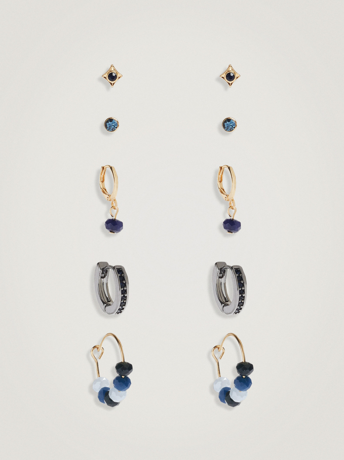 Set Of Hoops With Crystals And Beads, Multicolor, hi-res